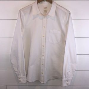 J. Crew White Oxford Button Up Long Sleeve Shirt